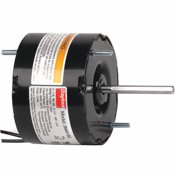 DAYTON 1/70 HP, HVAC Motor, Shaded Pole, 1550 Nameplate RPM, 115 Voltage, Frame 3.3