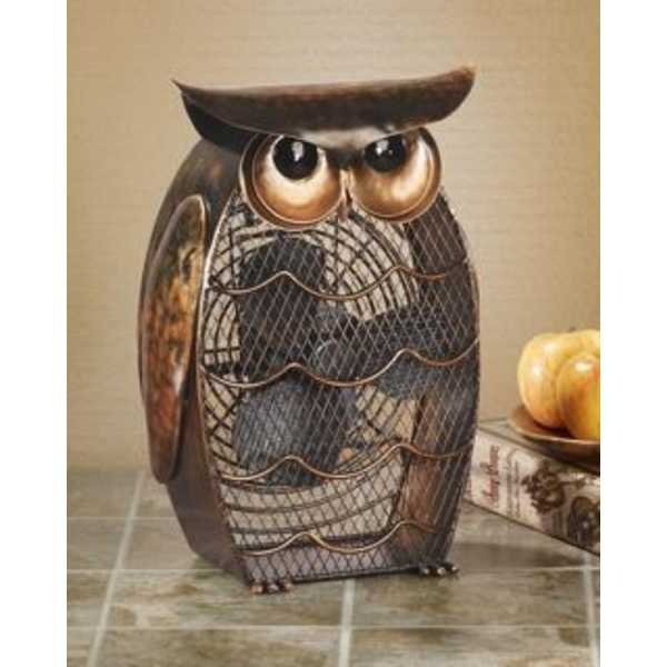 13' Unique Hand Sculpted Wise Owl Table Top Figure Fan