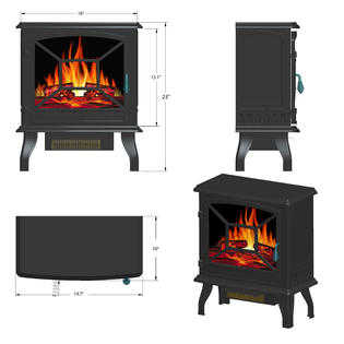 AKDY 20' White Freestanding Portable Electric Fireplace Firebox Flames w/ Logs Heater