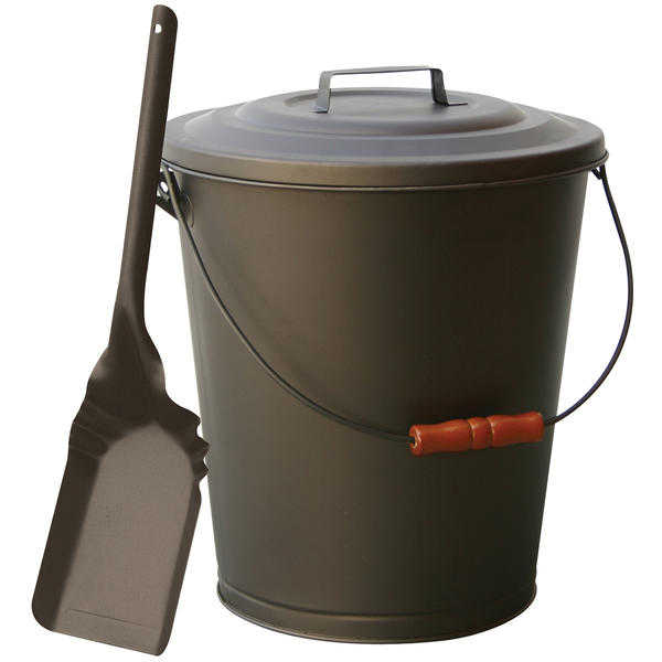 UniFlame Bronze Finish Ash Bin With Lid And Shovel
