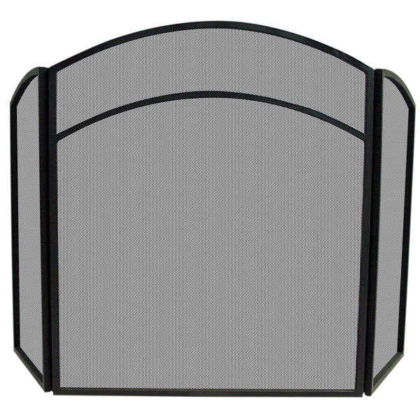 UniFlame 3 Fold Black Wrought Iron Arch Top Screen with Scrolls