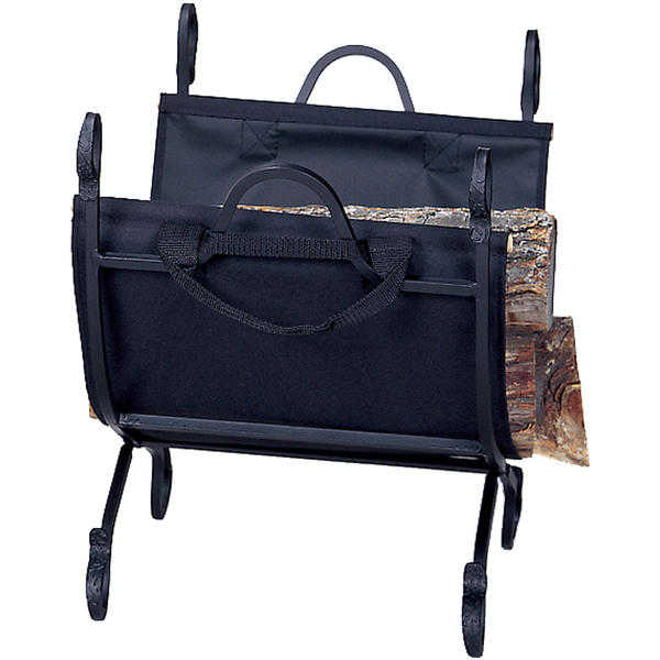 Hammered Crock Black Log Holder With Canvas Carrier