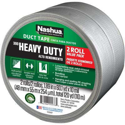 1-7/8 in. x 120 yd. 300 Heavy-Duty Duct Tape (2-Pack) in Silver