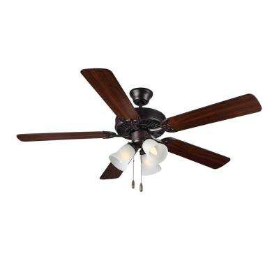 HomeBuilder III 52 in. Bronze Ceiling Fan with American Walnut Blades