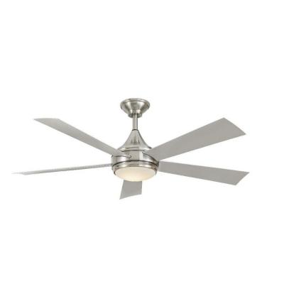 Hanlon 52 in. LED Indoor/Outdoor Stainless Steel Brushed Nickel Ceiling Fan